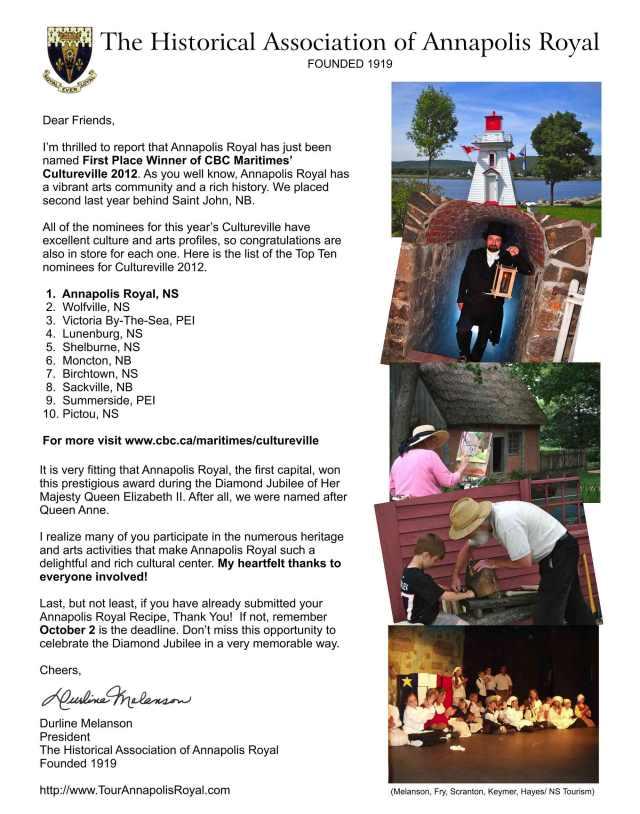 Congrats Annapolis Royal ~ Cultureville 2012!