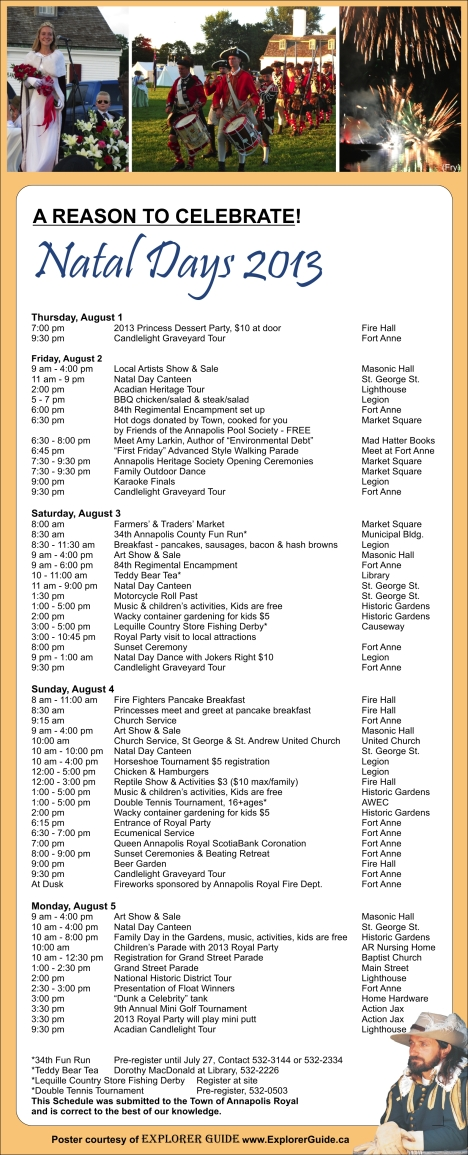 Natal Days 2013 ~ Schedule of Events